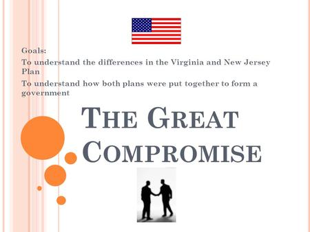 T HE G REAT C OMPROMISE Goals: To understand the differences in the Virginia and New Jersey Plan To understand how both plans were put together to form.