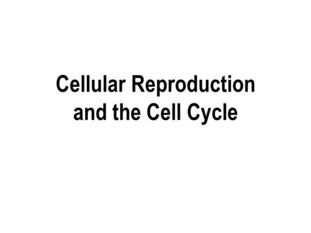 Cellular Reproduction and the Cell Cycle