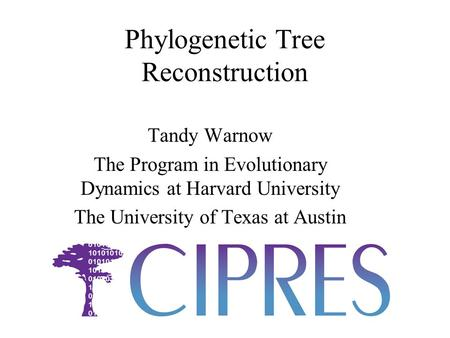 Phylogenetic Tree Reconstruction Tandy Warnow The Program in Evolutionary Dynamics at Harvard University The University of Texas at Austin.