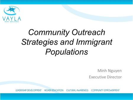 Community Outreach Strategies and Immigrant Populations Minh Nguyen Executive Director.