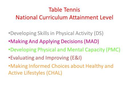 Table Tennis National Curriculum Attainment Level Developing Skills in Physical Activity (DS) Making And Applying Decisions (MAD) Developing Physical and.