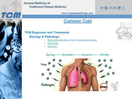 Common Cold TCM Diagnoses and Treatments Etiology & Pathology: –Wind-Cold with either Cold or Wind predominatingWind-Cold –Wind-HeatWind-Heat –Wind-DryWind-Dry.