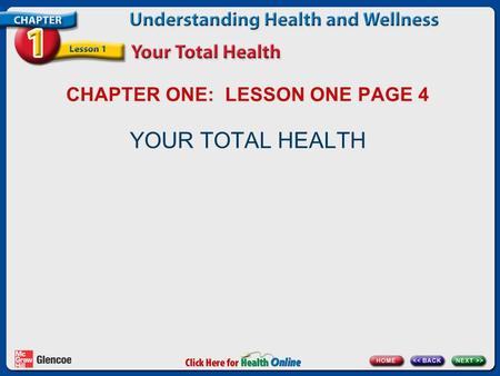 CHAPTER ONE: LESSON ONE PAGE 4 YOUR TOTAL HEALTH.