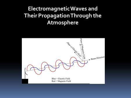 Electromagnetic Waves and Their Propagation Through the Atmosphere.