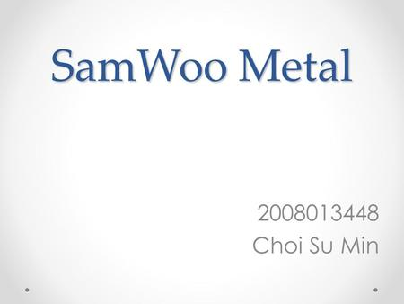 SamWoo Metal 2008013448 Choi Su Min. Index PlatingCoatingEtc.