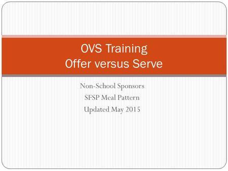Non-School Sponsors SFSP Meal Pattern Updated May 2015 OVS Training Offer versus Serve.
