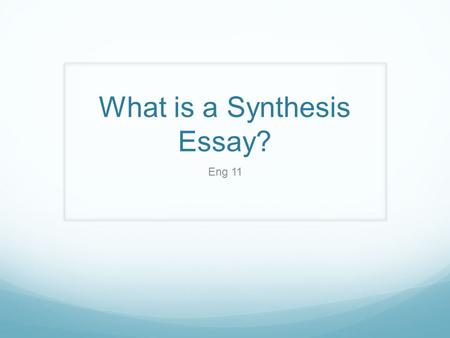 Penny essay synthesis