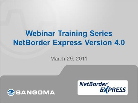 Webinar Training Series NetBorder Express Version 4.0 March 29, 2011.