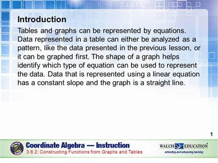Introduction Tables and graphs can be represented by equations. Data represented in a table can either be analyzed as a pattern, like the data presented.