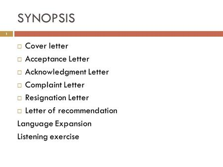 SYNOPSIS Cover letter Acceptance Letter Acknowledgment Letter