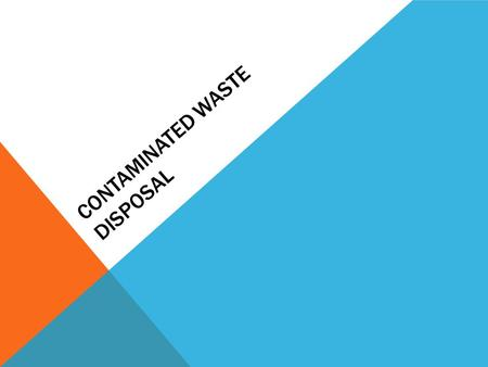 CONTAMINATED WASTE DISPOSAL PURPOSE To ensure the protection of Ambercare personnel, patients and family/caregivers, and the community through proper.