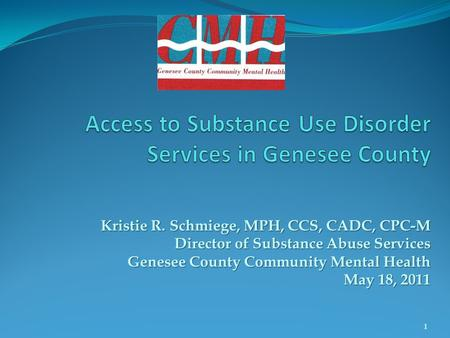Kristie R. Schmiege, MPH, CCS, CADC, CPC-M Director of Substance Abuse Services Genesee County Community Mental Health May 18, 2011 1.