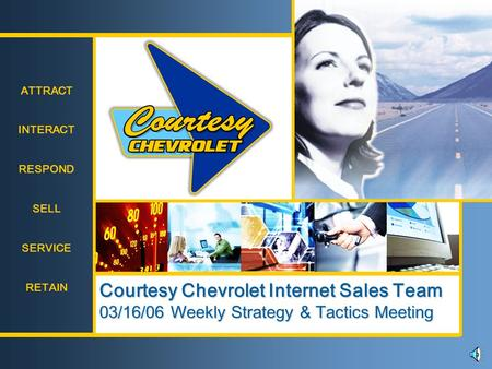 ATTRACT INTERACT RESPOND SELL SERVICE RETAIN ATTRACT INTERACT RESPOND SELL SERVICE RETAIN Courtesy Chevrolet Internet Sales Team 03/16/06 Weekly Strategy.