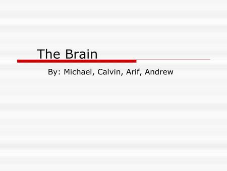 The Brain By: Michael, Calvin, Arif, Andrew. Brain Functions  Allows us to think, move, feel, see, hear, taste, and smell  Controls our body  Receives,