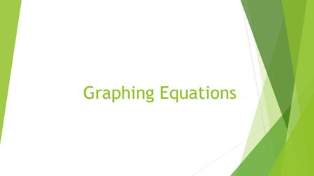Graphing Equations. Given an equation, student will be able to  Graph the equation of the line with 80% accuracy.  Identify slope and y-intercept with.