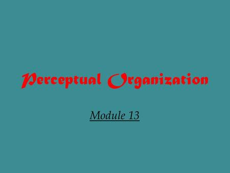 Perceptual Organization Module 13. TASK OF PERCEPTION The task of perception is to extract sensory input from the environment and organize it into stable,