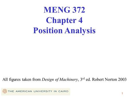 1 All figures taken from Design of Machinery, 3 rd ed. Robert Norton 2003 MENG 372 Chapter 4 Position Analysis.