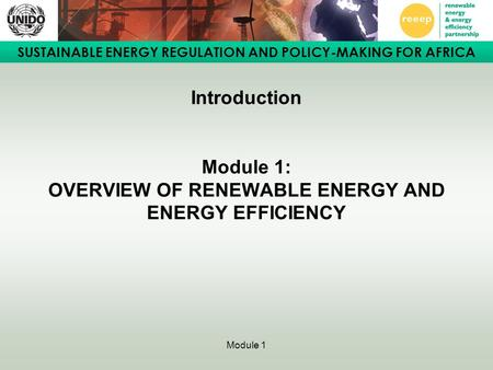 SUSTAINABLE ENERGY REGULATION AND POLICY-MAKING FOR AFRICA Module 1 Introduction Module 1: OVERVIEW OF RENEWABLE ENERGY AND ENERGY EFFICIENCY.