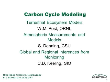 O AK R IDGE N ATIONAL L ABORATORY U. S. D EPARTMENT OF E NERGY 1 Carbon Cycle Modeling Terrestrial Ecosystem Models W.M. Post, ORNL Atmospheric Measurements.