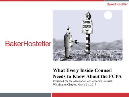 What Every Inside Counsel Needs to Know About the FCPA Presented for the Association of Corporate Counsel, Washington Chapter, March 31, 2015.