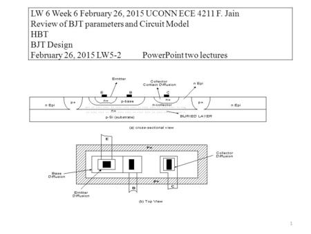 1 LW 6 Week 6 February 26, 2015 UCONN ECE 4211 F. Jain Review of BJT parameters and Circuit Model HBT BJT Design February 26, 2015 LW5-2 PowerPoint two.