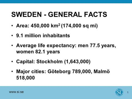 Www.si.se 1 SWEDEN - GENERAL FACTS Area: 450,000 km 2 (174,000 sq mi) 9.1 million inhabitants Average life expectancy: men 77.5 years, women 82.1 years.