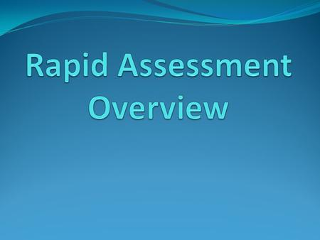 Rapid Assessment A quick evaluation of a disaster/emergency impacted area.