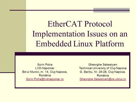EtherCAT Protocol Implementation Issues on an Embedded Linux Platform