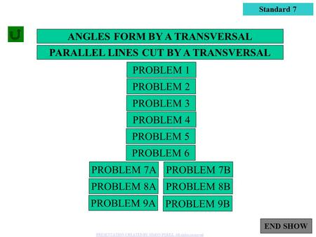 ANGLES FORM BY A TRANSVERSAL PARALLEL LINES CUT BY A TRANSVERSAL