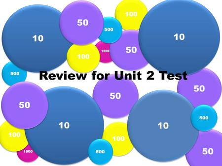 1000 500 100 50 10 Review for Unit 2 Test 10 50 100 500 50.