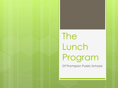 The Lunch Program Of Thompson Public Schools. The Problem The lunch program meets the USDA requirements of a reimbursable school lunch; however it only.