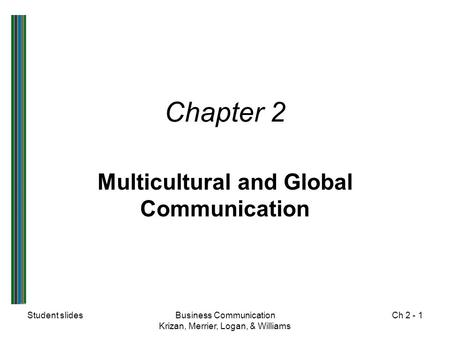 Multicultural and Global Communication