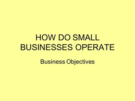 HOW DO SMALL BUSINESSES OPERATE Business Objectives.