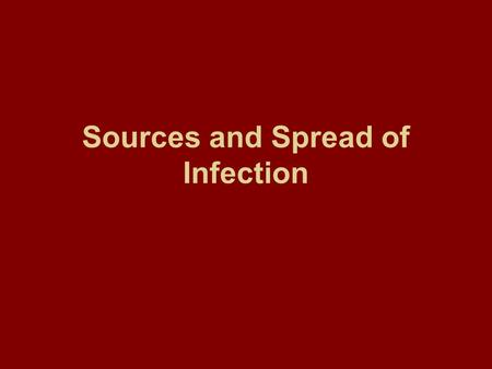 Sources and Spread of Infection. Sources and spread of infection Some definitions: Epidemiology is the study of the determinants and distribution of disease.