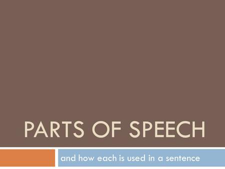 PARTS OF SPEECH and how each is used in a sentence.