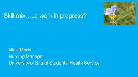 Nicki Morle Nursing Manager University of Bristol Students' Health Service Skill mix…..a work in progress?