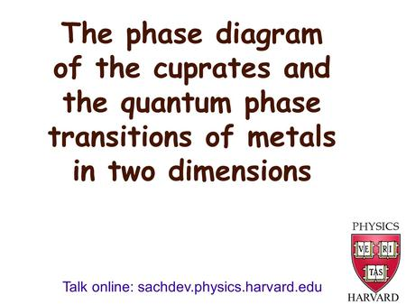 The phase diagram of the cuprates and the quantum phase transitions of metals in two dimensions HARVARD Talk online: sachdev.physics.harvard.edu.