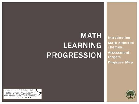 Math Learning Progression