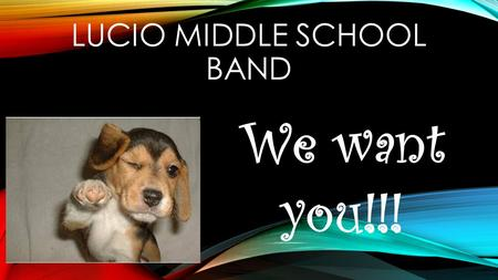 LUCIO MIDDLE SCHOOL BAND We want you!!!. INTRODUCTIONS!!! The Lucio Middle School Band Staff is made up of five band directors!