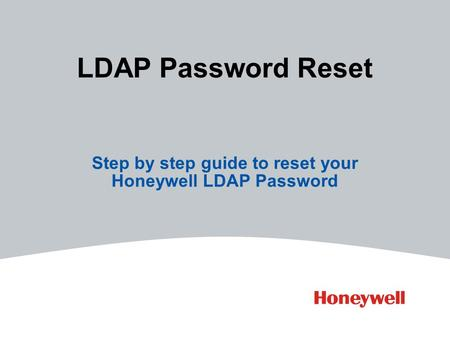 Step by step guide to reset your Honeywell LDAP Password