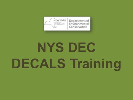 NYS DEC DECALS Training.