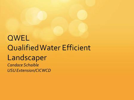 QWEL Qualified Water Efficient Landscaper Candace Schaible USU Extension/CICWCD.