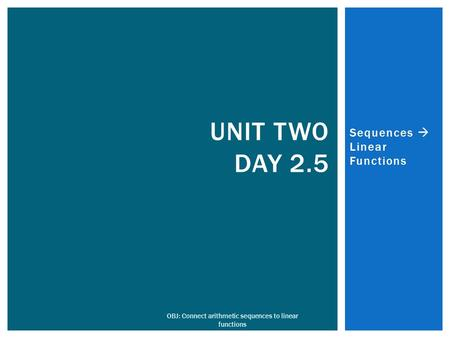 Sequences  Linear Functions OBJ: Connect arithmetic sequences to linear functions UNIT TWO DAY 2.5.