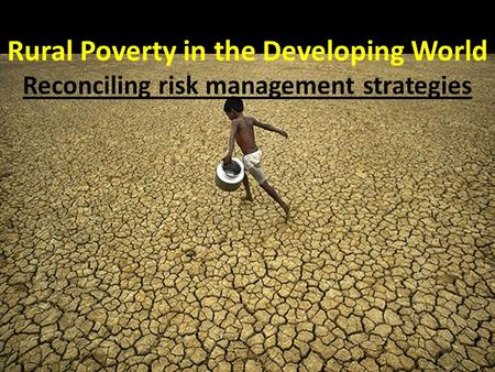 Rural Poverty in the Developing World Reconciling risk management strategies.