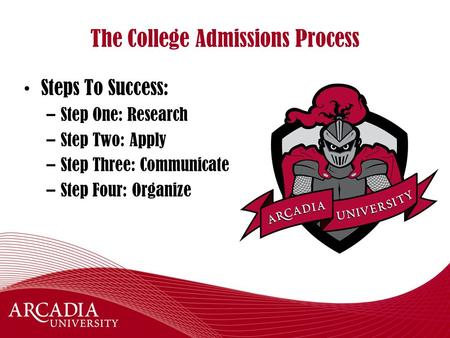 The College Admissions Process Steps To Success: –Step One: Research –Step Two: Apply –Step Three: Communicate –Step Four: Organize.