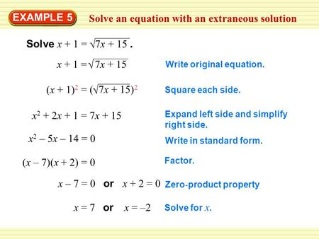 Solve an equation with an extraneous solution EXAMPLE 5  Solve x + 1 = 7x + 15.  x + 1 = 7x + 15 (x + 1) 2  = ( 7x + 15) 2 x 2 + 2x + 1 = 7x + 15 x.