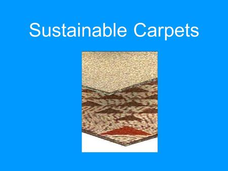 Sustainable Carpets. Sponsored by: Sustainable Textile Standard © : Applicable to Carpet and Beyond The Institute for Market Transformation to Sustainability.