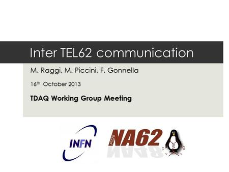 Inter TEL62 communication M. Raggi, M. Piccini, F. Gonnella 16 th October 2013 TDAQ Working Group Meeting.