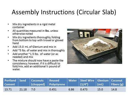 Assembly Instructions (Circular Slab) Mix dry ingredients in a rigid metal container All quantities measured in lbs. unless otherwise noted Mix dry ingredients.