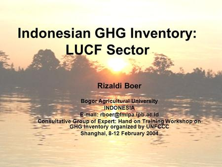 Indonesian GHG Inventory: LUCF Sector Rizaldi Boer Bogor Agricultural University INDONESIA   Consultative Group of Expert: